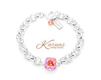 JUST PEACHY KEEN Chain 12mm Single Stone Bracelet Made With Swarovski Crystal  *Pick Your Finish *Karnas Design Studio *Free Shipping*
