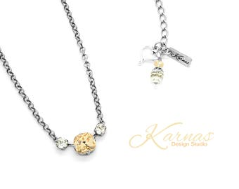 LIGHT SILK & CRYSTAL 12mm/6mm Crystal Cushion Cut Necklace Swarovski Elements *Pick Your Finish *Karnas Design Studio *Free Shipping*