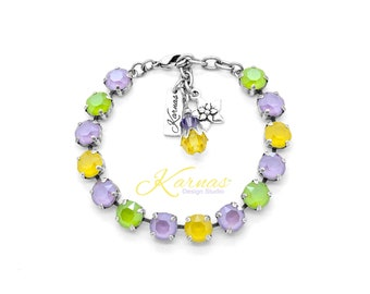 A SPRING DAY 8mm Lobster Clasp Bracelet Made With Genuine Swarovski Crystal *Choose Your Finish *Karnas Design Studio™ *Free Shipping*