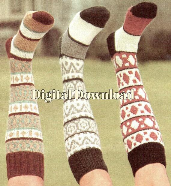 Fair Isle Knit Knee Socks Pattern, 3 Styles, Sock Knitting ...