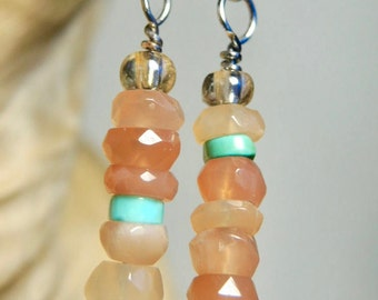 PEACH  MOONSTONE stack Earrings Grade AAA gemstones with bits of turquoiseglass Stainless steel leverbackwire Artisan Boutique of Blue Ridge