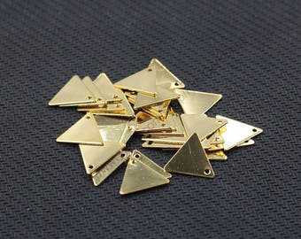 10 Pieces Gold Plated Triangle Slice Pendants For Jewelry Making Craft Supplies Wholesale Charms YHA-293-7130