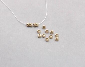 100Pcs, 4mm Raw Brass Pony Beads , Hole Size 1.5mm , SJP-A006