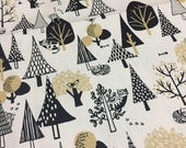 Cotton  Fabric with Cat and forest .  1/2meter 43 x 19 inches,110cm wide x 50cm long