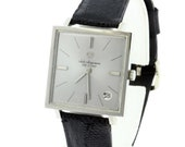 1970s Jules Jurgensen Square Bezel Wrist Watch Stainless Steel