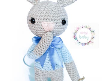 Stuffed animal, bunny toy, crocheted doll, plush bunny, stuffed bunny, nursery decor, crochet bunny, animal doll gift, cotton bunny, easter,