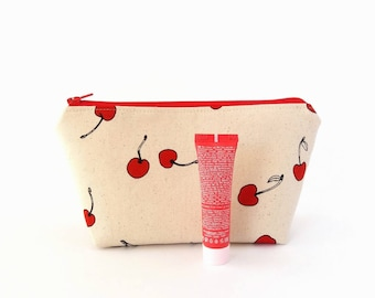 Makeup bag, Cherry, Makeup zipper bag, Cute makeup case, Make up pouch, Small cosmetic bag, Cherry pouch, Bridesmaid gift Bridal shower gift