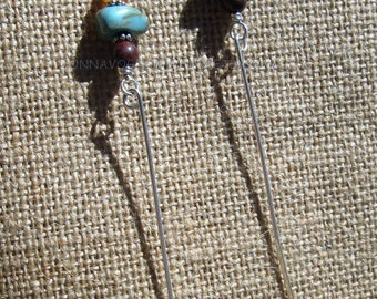 Turquoise, Citrine, Poppy Jasper and Sterling Silver Post Earwires