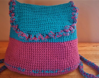 Crocheted Backpack, Blue and Purple with a Black Liner on Inside