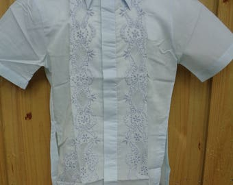 Vintage Men's 1950's Deadstock Embroidered & Cut Out Shirt Size Small to Large - New in Package - Club Wear - Resort Wear - Casual Wear