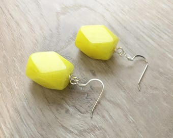 Neon Earrings Neon Yellow Earrings Chunky Yellow Earrings Big Yellow Earrings Neon Yellow Gemstone Earrings Large Yellow Earrings Bright