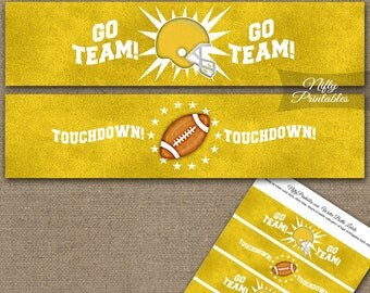 Yellow Football Water Bottle Labels - Football Water Bottle Wraps - Football Baby Shower Birthday Bridal Decorations FT-Y