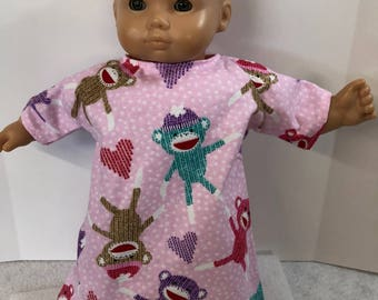 15 inch Bitty Baby Clothes, Adorable Pink POLKADot Flannel BUNTING with SOCK MONKEYs, 15 inch AG American Dolls Bitty Baby or Twin Doll