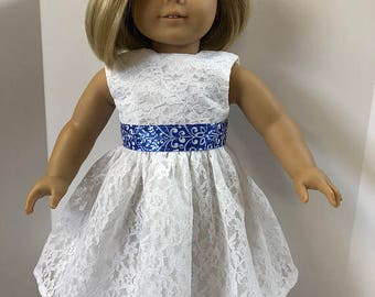 "18 inch Doll Clothes, Pretty ""White LACE with Blue Ribbon"" Special Occassion Dress, 18 inch AG Dolls, Great for Wedding Dress-Flower Girl!"