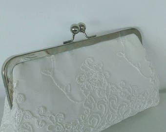 Ivory off white lace wedding Bridal clutch purse BBsCustomClutches