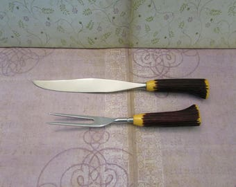 Vintage Washington Forge Fleetwood Designer Stainless Carving Knife and Fork Faux Antler Stag Handles