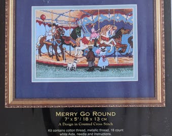 Dimensions Gold Collection Petites MERRY GO ROUND Counted Cross Stitch Embroidery Kit 6832