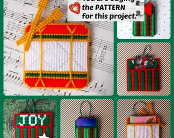 "Plastic Canvas Pattern: ""Christmas Memory Pocket Ornaments"" (3 designs -- drum and 2 gift boxes, with pockets on back) ***PATTERN ONLY***"