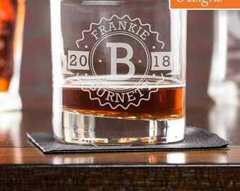 21st Birthday Gift For Him, Whiskey Glass, Scotch Glass, Engraved Liquor Glass, Personalized Gift, Wedding Whiskey Glass, Personalized Glass