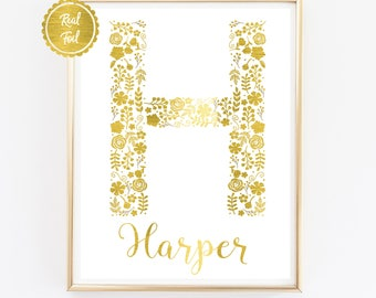 Unique baby gift etsy unique baby gift gold foil name print harper h letter negle Gallery