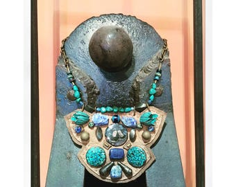 THE SHIELD NECKLACE by Gilded-Mane : Agate, Turquoise, Lapis & Pyrite on Taupe Deerskin Leather, Large