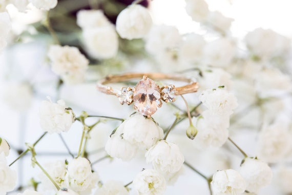 Oval three stone morganite sapphire engagement ring, 14k gold twig engagement ring, 14k gold sapphire twig engagement ring