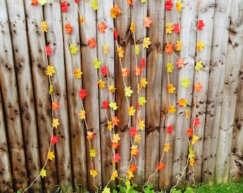 Fall, autumn leaf garland, birthday, baby shower, bridal shower, wedding decors, photo props