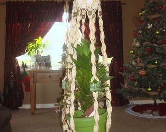 Vintage Macrame Plant Holder Table Ceramic Butterfly Swag Light