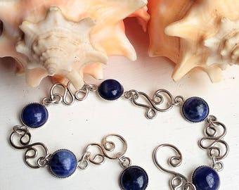 Sterling Silver Denim Blue Sodalite Gemstone Cabochon Swirl Bracelet