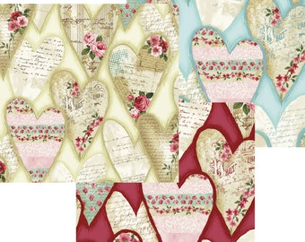 Love Song Hearts Fabric; Y2272-58, 103, 82 - Light Butter, Teal, Red; You Choose Size; Skipping Stones Studio for Clothworks; Roses, Floral