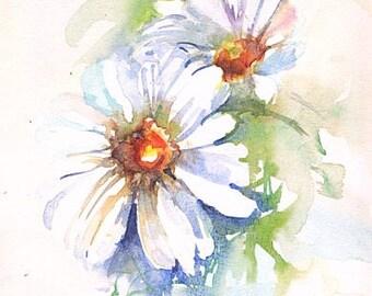 Daisies. Original watercolour.