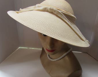 Vintage Straw Hat Linen Color Hat Picture Hat Wide Brim Hat Velvet Ribbons Clemar Original Summer Hat Spring Hat Vintage Fashions