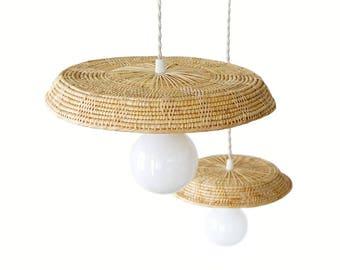 Bamboo Rattan Pendant Lamp, Woven Rattan Pendant Light, Bamboo  Flat Shade Lamp