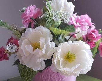 Pink Flowers in Vase, Pink Vase, Faux Flowers, Flower Bouquet, Pink Flower Arrangement, Home Decor, Artificial Flowers, Cream Flowers