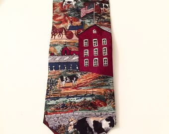 Vintage Americana Series Necktie Country Farm Scene Tango by Max Raab Valentine Gift for him