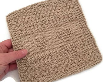 Dishcloth,  Jute Hearts Washcloth, Available Only  at AllSylviasCreations, Gift, Eco Friendly,Cotton Kitchen Cloth, Gift for Him or Her