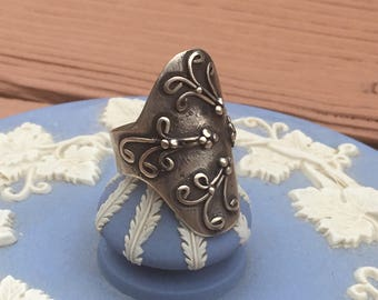 Handmade Filigree Style Antiqued Silver Ring US SIZE 8