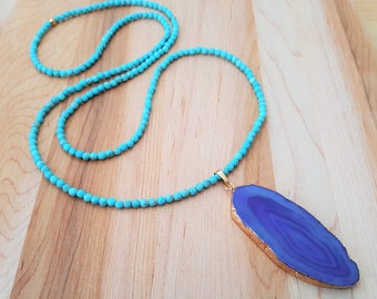 Faceted  Natural Turquoise and Purple Agate Slice Necklace / Beaded Necklace / Boho Luxe /  Agate Geode / Gemstone Necklace / Long Necklace