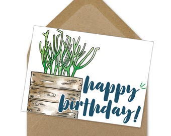 happy birthday card, birthday, succulent, instant download, calligraphy, printable | A6