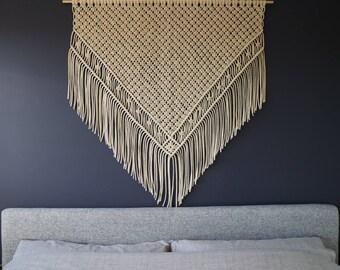 Large Macrame Cotton Wall Hanging /  Cotton Fibre Wall Art