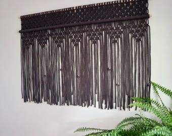 Large Grey Macrame Cotton Wall Hanging /  Black Cotton Fibre Wall Art