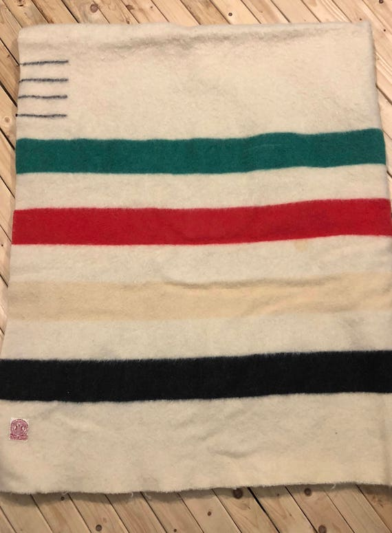 1920s Hudson Bay Company 4 Point Blanket Stripe Blanket Queen Size