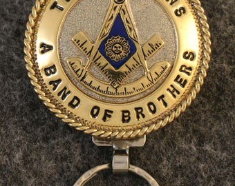 IN STOCK UNLESS Personalized Custom handcrafted Masonic key chain. Past Master Emblem with Rocker.