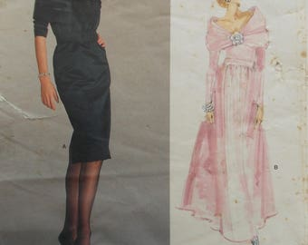 Vogue  1996 is for a Vogue Paris Original Pattern 1987 Yves Saint Laurent evening dress with bias collar, fitted bodice and skirt. Size 12