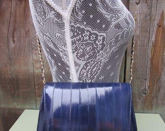 80s Electric Blue Eelskin Crossbody Bag Chain Strap PUrse handbag Satchel Eel Skin 1980s Vintage