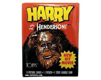 Harry And The Hendersons Movie Bubble Gum Trading Cards Wax Pack 1987