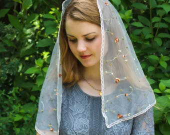Evintage Veils~ St Therese Little Flower Silver Gray  Vintage Inspired Lace Trim Mantilla Chapel Veil