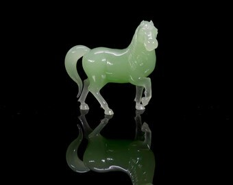 Chinese Jade Colored Peking Glass Horse Figurine and Custom Wood Stand, Asian Home Decor, Collectible Glass