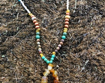 long gemstone beaded statement necklace- yellow and turquoise