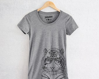 Taz the Tiger - Tri-Blend Women's Fitted Crew Neck Shirt - Tiger Lover Gift, Animal Lover, Funny Shirt